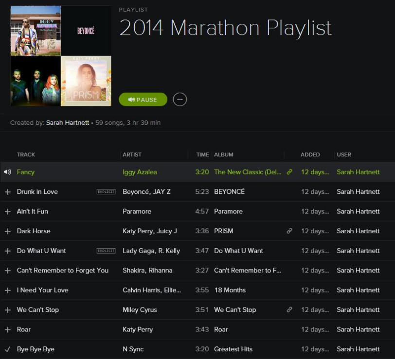 Marathon playlist